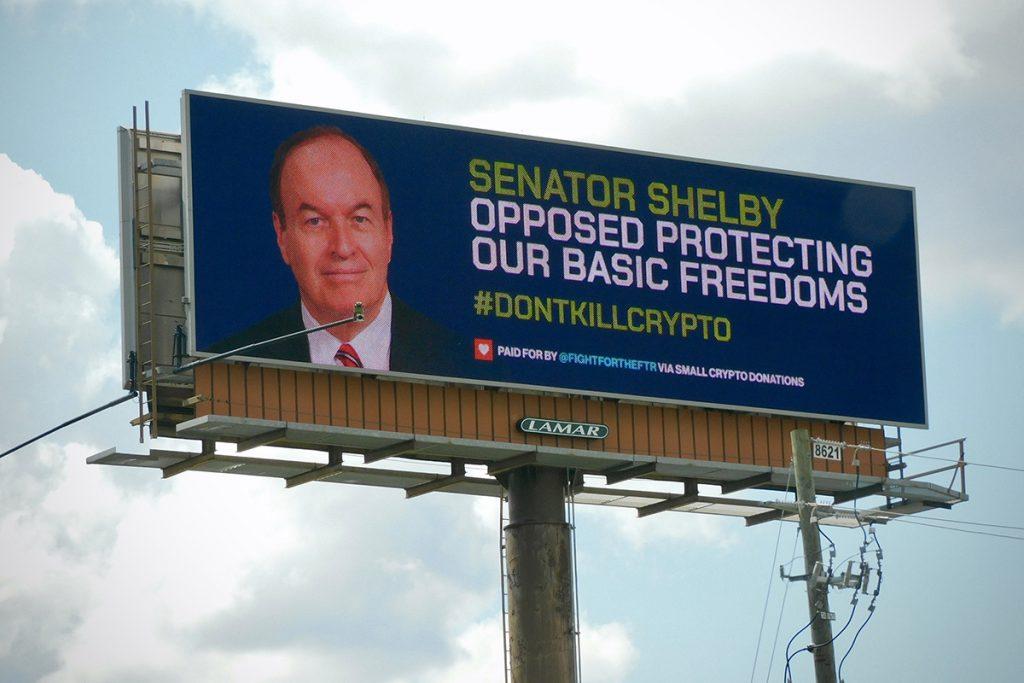 Outdoor 'não mate as criptomoedas' é exibido no Alabama